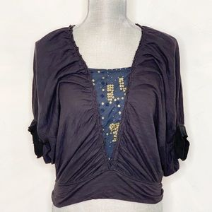 Free People Cropped Dolman Sleeve Slouchy Top